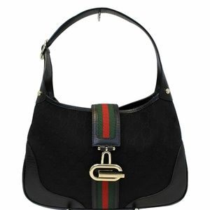 GUCCI GG Canvas Web Hobo Bag Black 130779